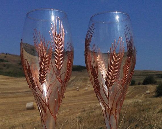 Set of 2 hand painted champagne flutes Autumn wedding theme Wheat Rye flutes wedding barn theme