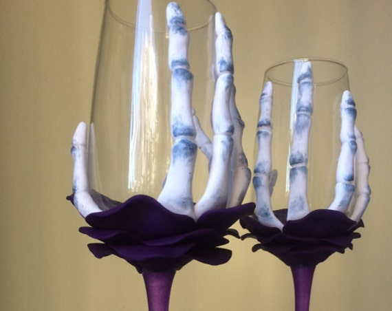 Set of 2 hand painted decorated Wedding Glasses champagne flutes Black and purple Rose Skeleton Halloween wedding favor