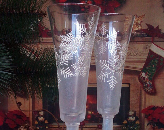 Set of 2 Winter Wedding toasting hand painted champagne flutes White snowflakes