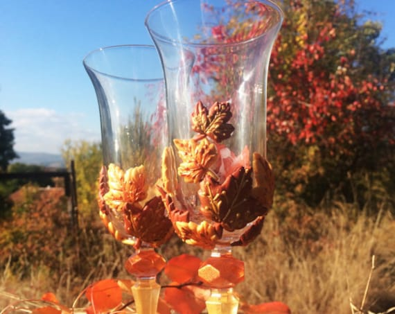 Autumn Set of 2 hand painted wedding champagne flutes Maple leaves theme wedding glasses Cake serving set