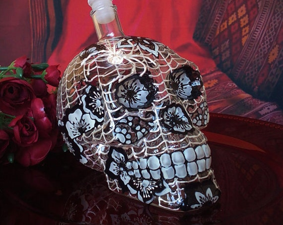 Made- to- order Hand painted Skull Glass bottle in black and white color with swarovski crystals spider  Day of the Dead  Día de Muertos