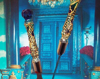 Wedding cake server and knife, Peacock feathers wedding cake accessories, Peacock wedding supplies, blue gold cake serving set, 2 pcs