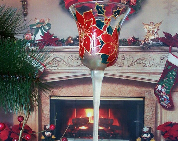 Christmas hand painted Candle holder Christmas winter poinsettia