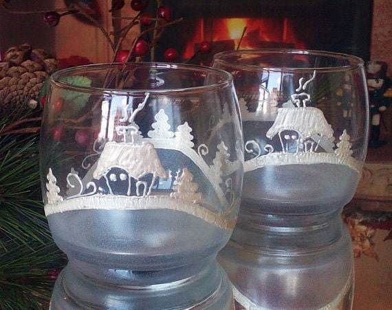 Set of 2 winter Christmas hand painted whiskey glasses Cold Winter