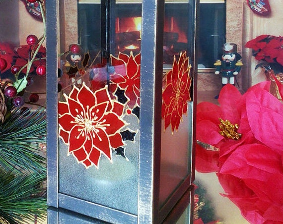 Christmas hand painted Lantern candle holder Christmas winter poinsettia
