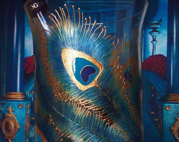 Hand painted bottle cooler Peacock feathers in gold, blue and turquoise color Wedding Centerpiece Vase