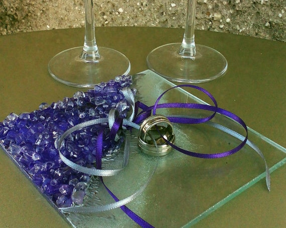 Purple Geode wedding theme Ring bearer hand painted decorated champagne flutes Amethyst Geode design