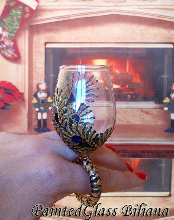 Personalized RING WINE glass bridesmaid gift, birthday gift, christmas gift Peacock feather in gold, blue and turquoise color