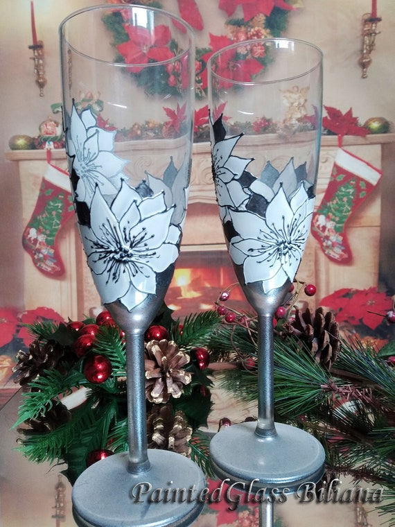 Christmas set of 2 wedding champagne flutes White Poinsettia flower Winter glasses in white and silver