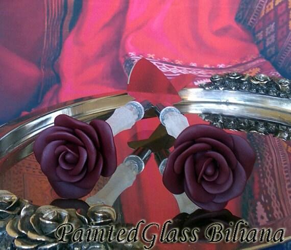 Wedding cake server and knife, Burgundy red wedding cake accessories, Burgundy Rose wedding,  wedding supplies, cake server set, 2 pcs