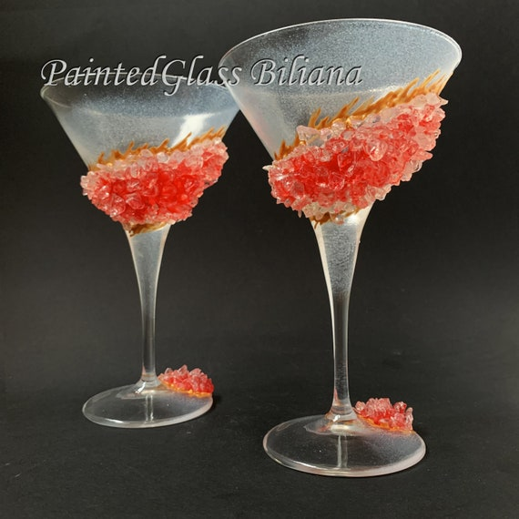 Red geode Martini glasses