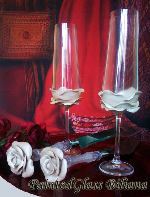 Wedding Glasses Pearly white Rose Champagne Flutes Hand Decorated Set of 2 Cake serving set