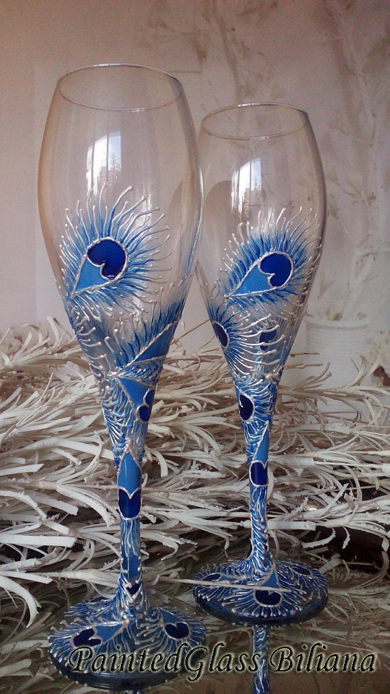 Set of 2 hand painted wedding champagne flutes Lace peacock feather design in white and blue color