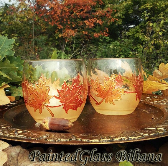 Set of 2 Autumn Maple leaves hand painted whiskey glasses in gold and copper color