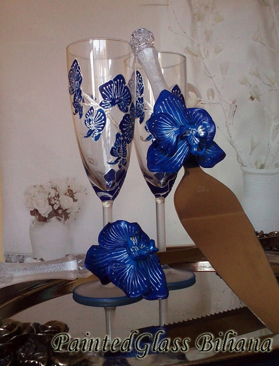 Wedding Glasses Royal Blue orchid Champagne Flutes Hand Painted Set of 2 Orchid theme wedding Cake serving set