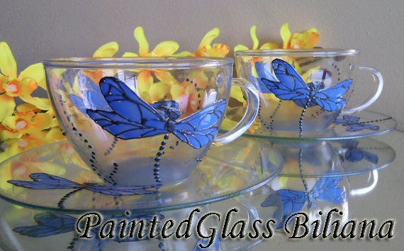 Set of 2 Hand Painted Tea Coffee Glass Cups Silver and blue dragonflies