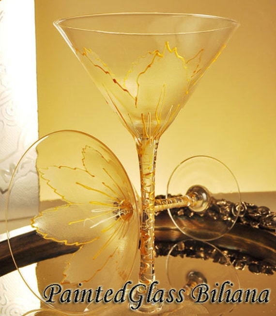 Set of 2 hand painted martini  glasses Golden Tulip