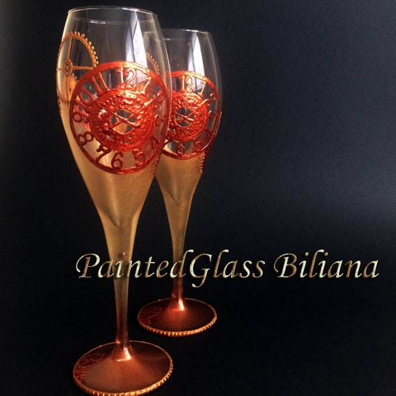 Steampunk gears toasting glasses in gold and copper color, set of 2