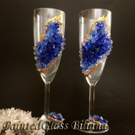 Free shipping Blue geode wedding flutes