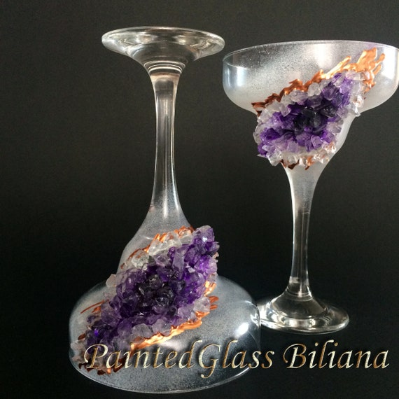 Amethyst geode Martini Margarita glasses