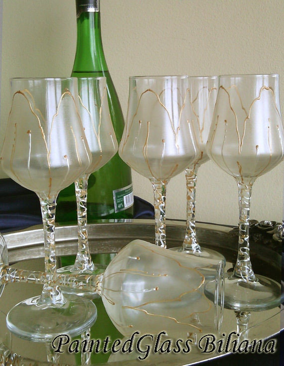 Free shipping Sale -10%  Set of 6 hand painted aperitif grappa  glasses Golden Tulip