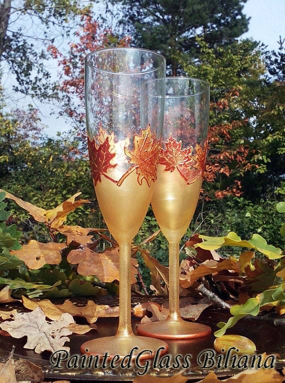 Autumn set of 2 hand painted wedding champagne flutes Maple leaf toasting glasses Cake set