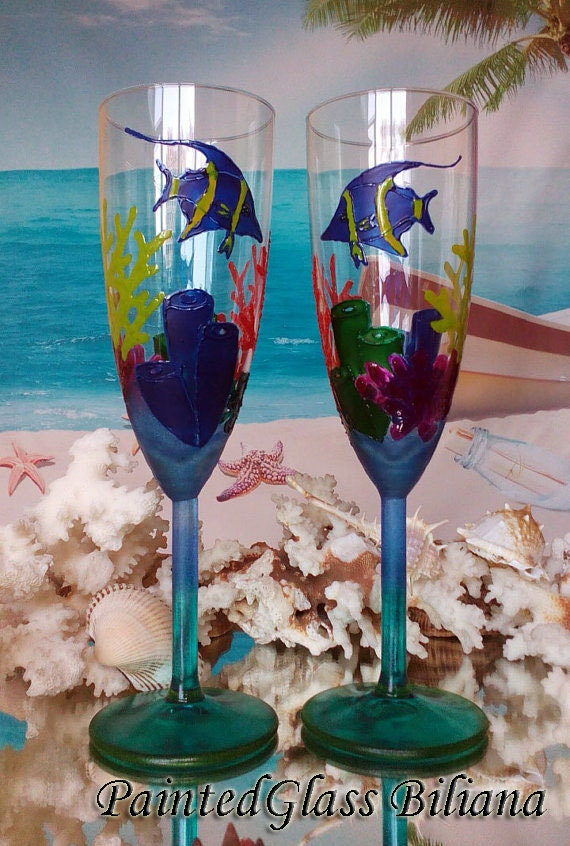 Coral reef Wedding Glasses Champagne Flutes Set of 2 Beach Sea wedding theme in red, blue and green