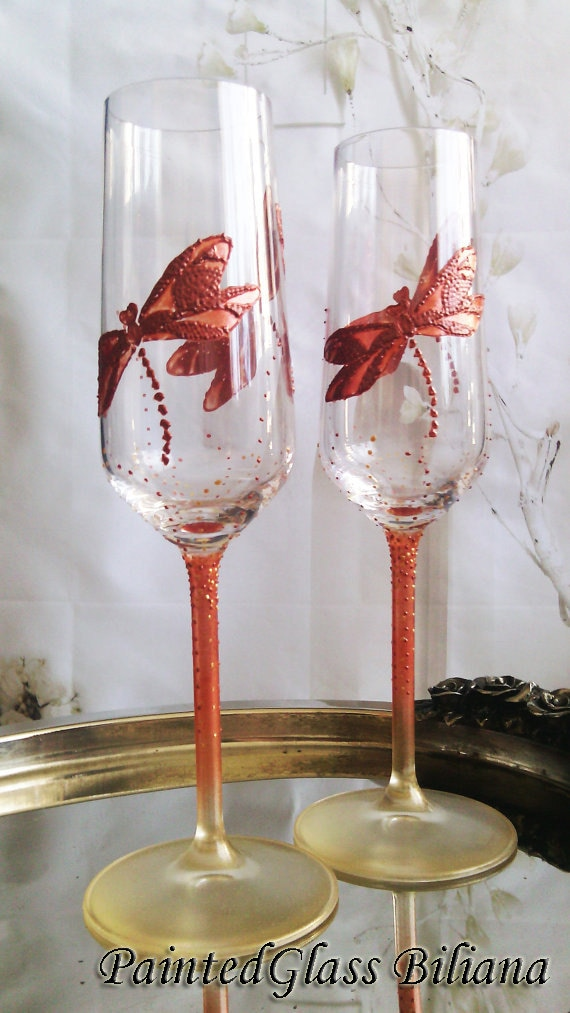 CRYSTAL SET of 2 hand painted wedding champagne flutes Dragonflies in copper and gold color