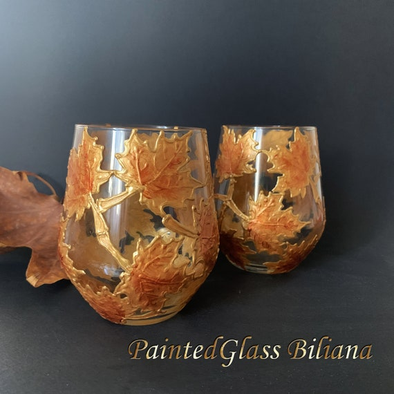 Autumn stemless set of 2 Maple Leaves toasting wine glasses in gold and copper color