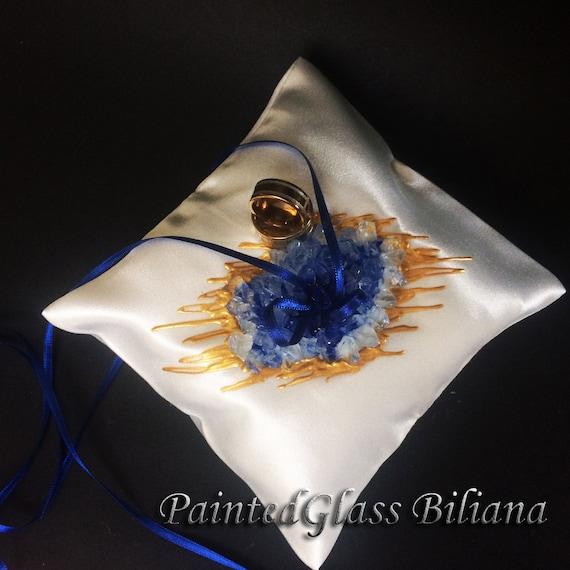 Blue geode ring pillow