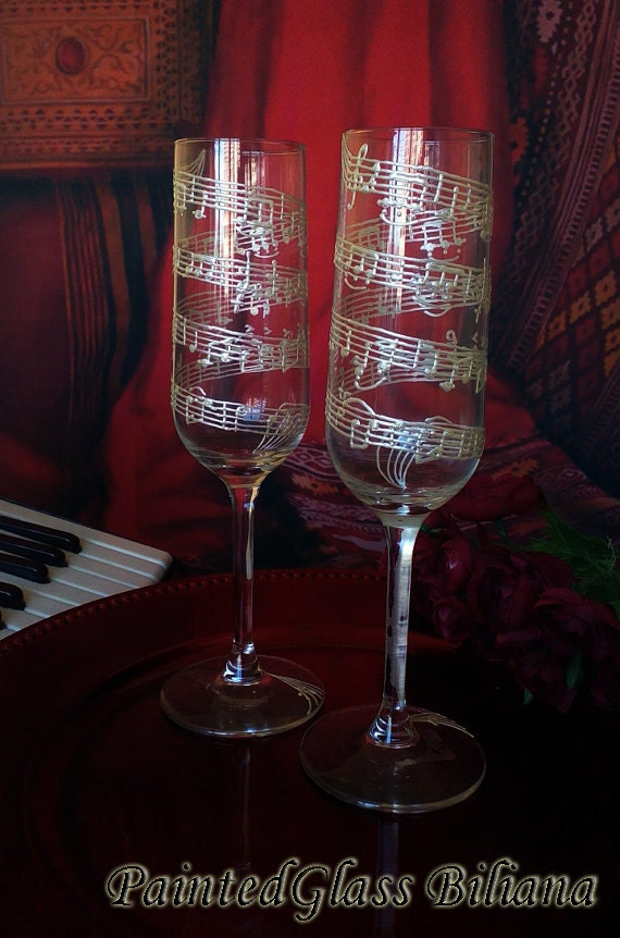 Music Set of 2 hand painted champagne flutes Mendelssohn Wedding March