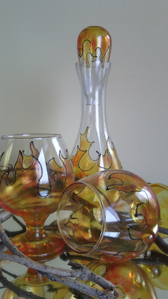 "SALE -25% Set of 2 Hand Painted brandy/ cognac glasses and a bottle decanter ""On fire"""