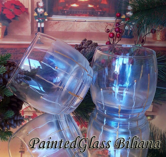 Set of 2 hand painted whiskey glasses Calla