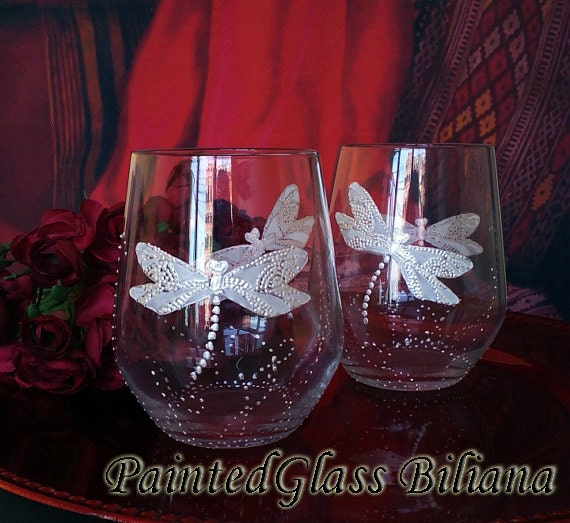 Set of 2 Hand Painted wine glasses White dragonflies