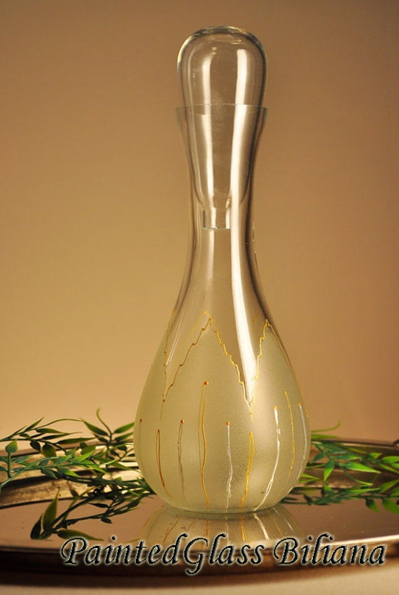 Hand painted bottle Golden tulip