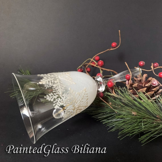 Christmas snowflake glass bell hand painted