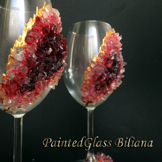 Free shipping burgundy red geode wine glasses