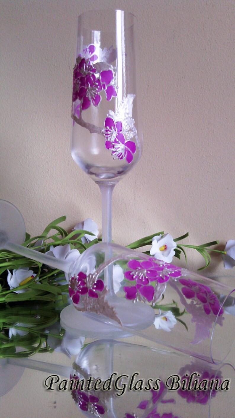 Cherry Blossom CRYSTAL SET of 2 wedding champagne flutes sakura tree