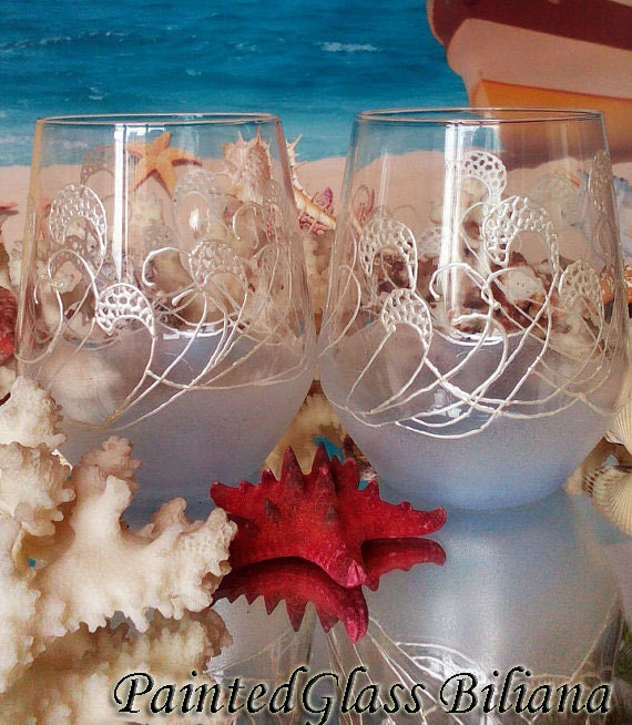Toasting stemless wine glasses Set of 2 Beach Sea waves in pearly white and blue color