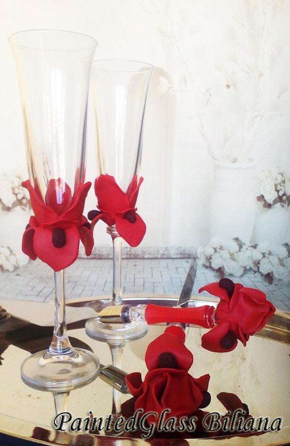 Set of 2 hand handmade wedding toasting flutes Red Iris flower Toasting glasses Cake serving set