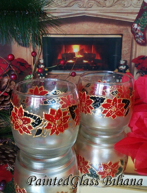 Set of 2 winter hand painted whiskey Christmas Poinsettia glasses