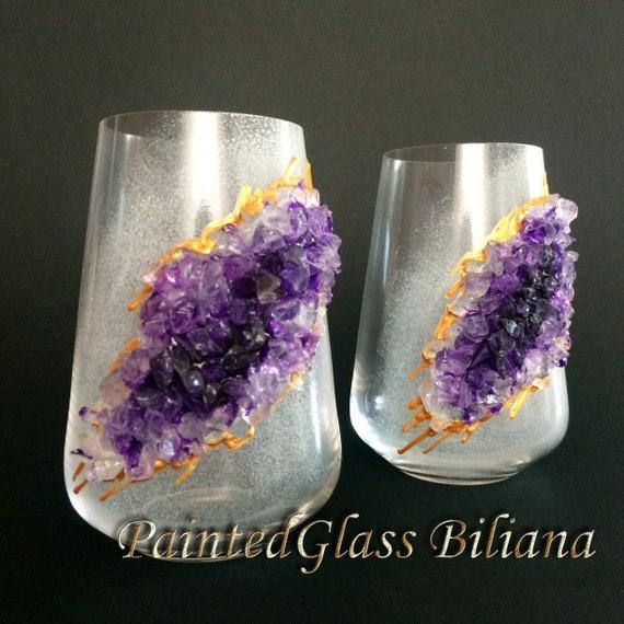Amethyst purple geode stemless wine glasses
