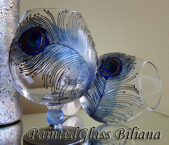 Set of 2 Hand Painted brandy cognac glasses Peacock feather in silver and blue