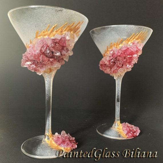 Burgundy red geode Martini glasses