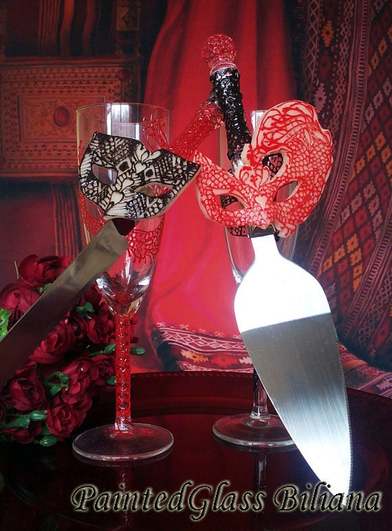 Wedding cake server and knife, Lace domino Masquerade mask wedding cake accessories, Mardi Gras black red cake serving set, 2 pcs