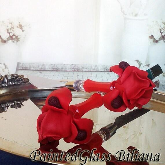 Wedding cake server and knife, red wedding cake accessories, Iris flower wedding,  wedding supplies, cake server set, 2 pcs