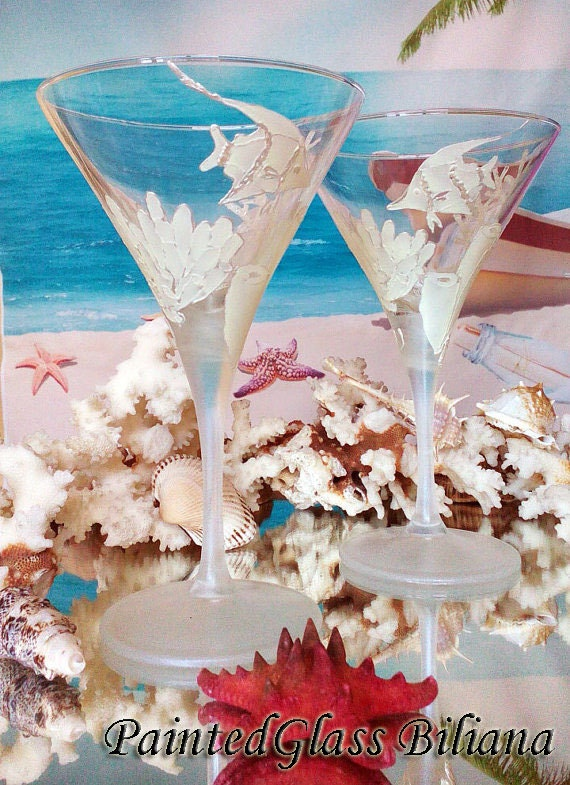 Set of 2 hand painted martini Beach sea glasses Winter Coral reef