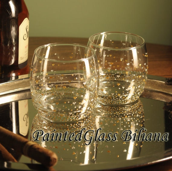 Set of 2 hand painted whiskey glasses Valentine's day