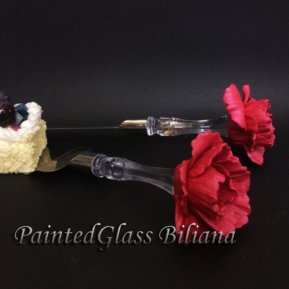 Wedding cake server and knife, Red peony wedding cake accessories, Red peony wedding,  wedding supplies, cake server set, 2 pcs