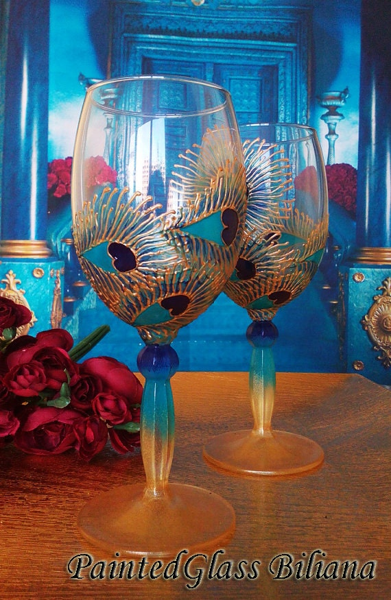 Set of 2 Hand Painted wine glasses Peacock feather lace in blue, turquoise and gold color